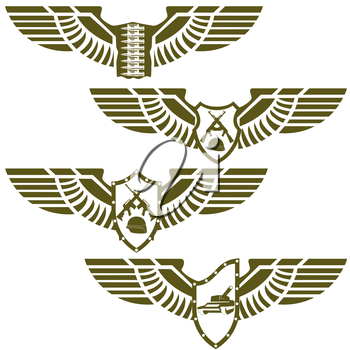 Abstract icons with military wings. Illustration on white background.