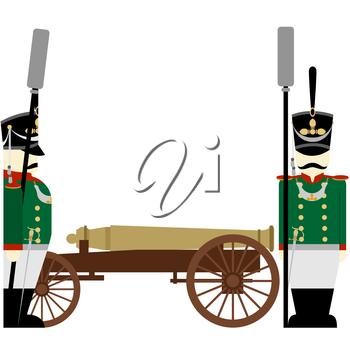 Gunners Russian army and weapons in the 1812 war. The illustration on a white background.