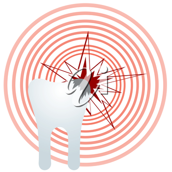 Abstract image of a toothache. The illustration on a white background.