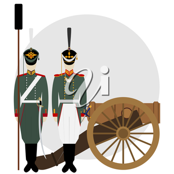 Soldier in uniform of an artillery near the old gun. The illustration on a white background.