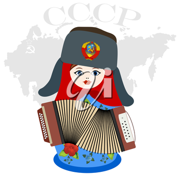 Russian nesting doll with accordion on a background map of Russia. The inscription in Russian. USSR, Union of Soviet Socialist Republics. The illustration on a white background.