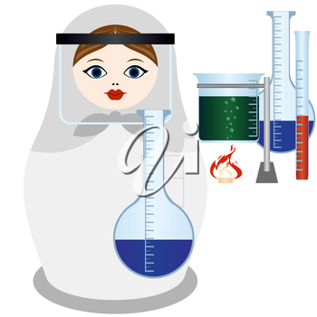 Russian nesting doll in the uniform of the scientist chemist with flask and chemical reagents. The illustration on a white background.