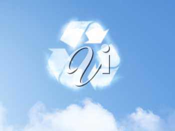 Royalty Free Photo of a Recycle Sign Made out of Clouds