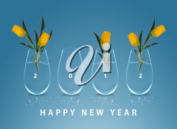 Royalty Free Photo of a Happy New Year Message for 2012 With Yellow Flowers in Vases on Blue