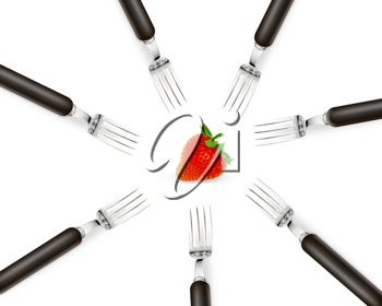Royalty Free Photo of a Set of Forks in a Circle with a Strawberry in the Center