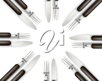 Royalty Free Photo of Sets of Knives and Forks Put Together in a Circle