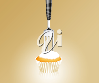Royalty Free Photo of a Fork with a Missing Tooth Stuck into a Cupcake