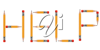 short Pencils isolated on white background arranged to spell Help.