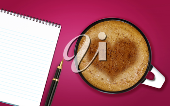Royalty Free Photo of a Cup of Cappucino with a Heart Shape in the Foam, and a Spiral Notebook with a Pen