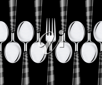 Royalty Free Photo of Forks and Spoons on a Black Background