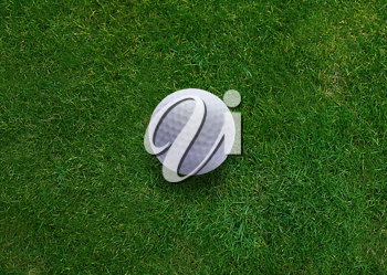 Golf ball on green grass land .