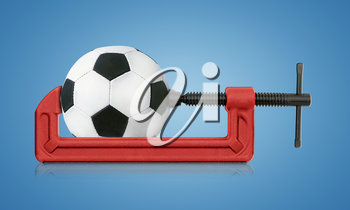 horizontal hand vise c-clamp and football, sport conceptual image