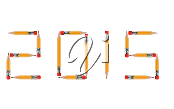 Happy new year 2015, short Pencils isolated on white background arranged to spell 2015. the same concept available for 2016 and 2017 year, (Clipping work path included).