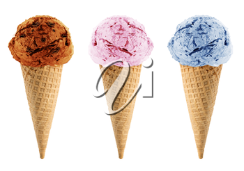Blackberry, strawberry and chocolate Ice cream in the cone on white background with clipping path.