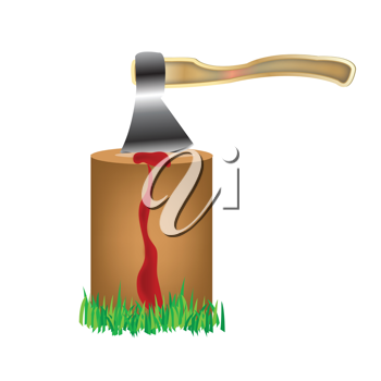 Royalty Free Clipart Image of an Axe in a Stump With Blood Flowing Down