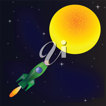 Royalty Free Clipart Image of a Rocket to the Moon