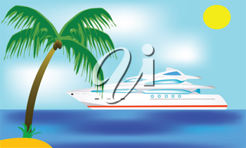 Royalty Free Clipart Image of a Luxury Liner