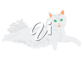 Royalty Free Clipart Image of a White Cat