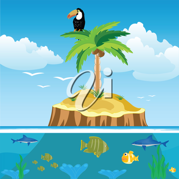 Desert island and ocean with fish