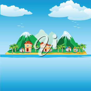 Illustration of the small city on island in ocean