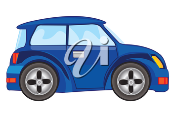 Vector illustration of the blue car on white background