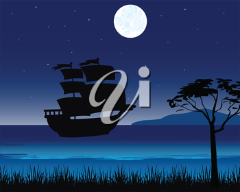 Sailing ship beside tropical island in the night