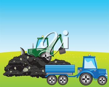 Tractor with scoop digs and loads land in pushcart