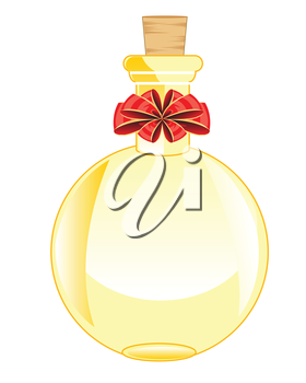 The Round glass vial decorated by red bow.Vector illustration
