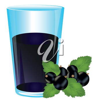 Glass with drink from berries of the currant on white background