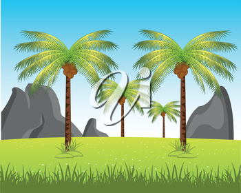 The Picturesque african landscape with palm and.Vector illustration