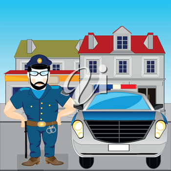 Police and police car in city.Vector illustration