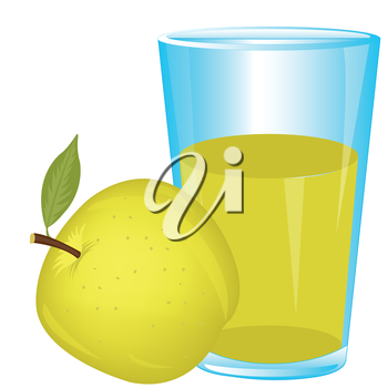 Apple wanted and glass of juice on white background