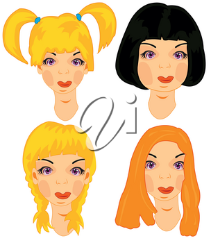 Hairstyles of the young attractive womans on white background