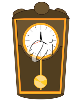 Vector illustration old come hours with pendulum