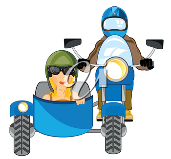 Vector illustration men and woman on motorcycle with sidercar