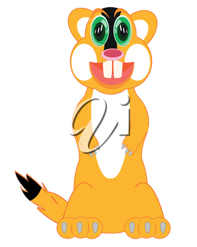 Vector illustration of the cartoon animal rodent gopher