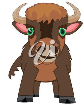Vector illustration american ungulate animal bison cartoon
