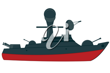 Nave of the military fleet on white background is insulated