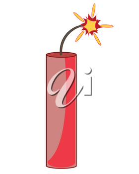 Propellent dynamite with alight wick on white background is insulated