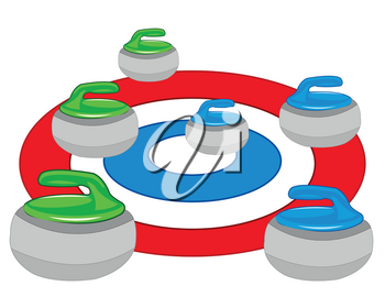 Atheletic play curling circles and atheletic projectile