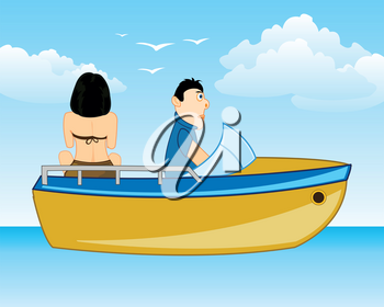 Vector illustration of the cartoon of the girl and men on sailboat in ocean