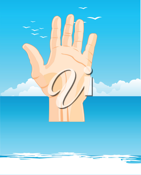 Vector illustration of the hand of the person protruding from water