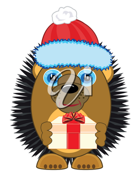 Animal hedgehog in new year s hat and with gift