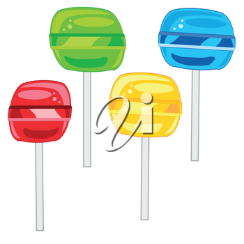 Vector illustration of the sweetmeats lollipop colour on stick