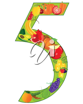 Vector illustration of the numeral five from fruit and vegetables