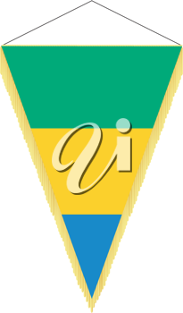 Royalty Free Clipart Image of a Pennant with a Flag of Gabon
