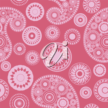 Royalty Free Clipart Image of a Pink Paisley Background