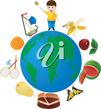 Royalty Free Clipart Image of a Boy Standing on Top of The World With Fruits, Games, Butterflies, and Entertainment Options
