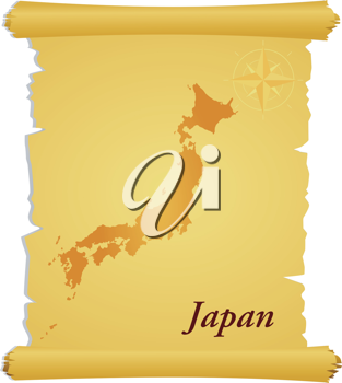 Royalty Free Clipart Image of a Parchment with a Map of Japan