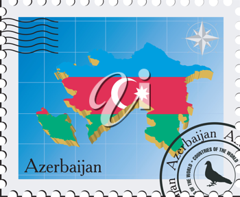 Royalty Free Clipart Image of a Stamp of Azerbaijan